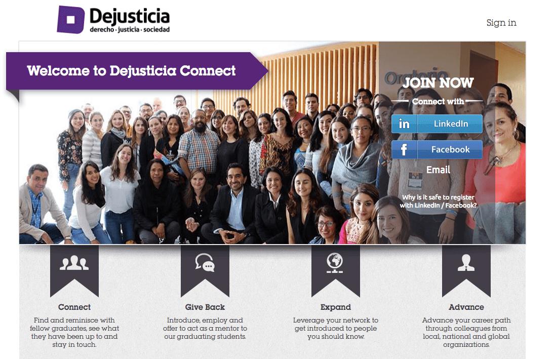 Dejusticia Connect es una plataforma que permite conectar a exalumnos de Dejusticia.